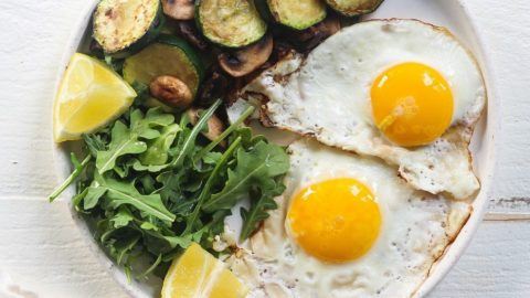 Zucchini, Mushrooms, and Egg Breakfast